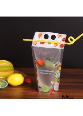 100PCS Disposable Beverage Bag Frosted Portable 300ML 12*12CM Bottom 8CM