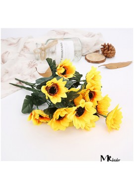 6PCS Artificial Flower Sunflower Sun Flower Handle Bundle Wedding Home Decoration