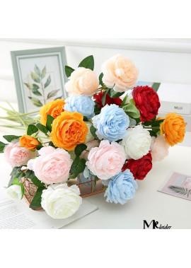 Simulation of European Style 3 Peony Wedding Decoration Home Decoration Fake Flower Peony Faux Flowers