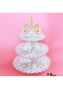 2PCS Paper Cake Stand Three-Tier Dessert Table High 35CM, Large Disc Diameter: 30C M