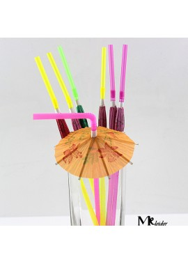 100PCS Party Disposable Straws 5*240MM Fluorescent Umbrella
