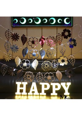3PCS Hollow Bronzing Mirror Flowers And Leaves Flag Total Length 3 Meters