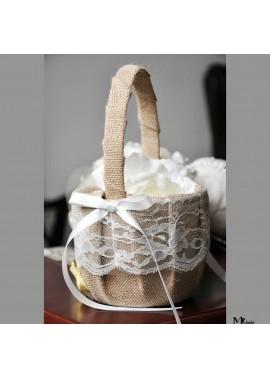 2PCS Wedding Supplies Hemp Lace Flower Knot Flower Basket 13*22CM