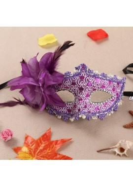 Lace Rhinestone Leather Mask