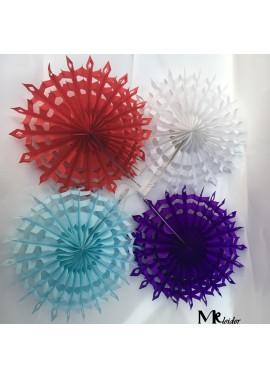 10PCS Colorful Snowflake Paper Fan 8 Inchs