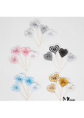 2PCS Mini Love Heart Shaped Paper Fan Decoration Small Circle Diameter Is About 5.5CM, Large Circle Diameter Is About 6.5CM