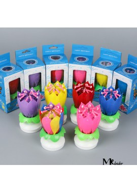 Lotus Music Birthday Candle Blossom Double Rotating Lotus Candle Birthday Cake Candle