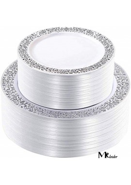 6pcs 7.5Inchs Silver Plastic Plates-Disposable Plastic Plates