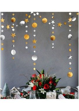 4 Meters Multicolor Gold And Silver Disc Stars Pull Flowers Birthday Party Window Classroom Wedding Paper String Pull Flag Decoration Arrangement