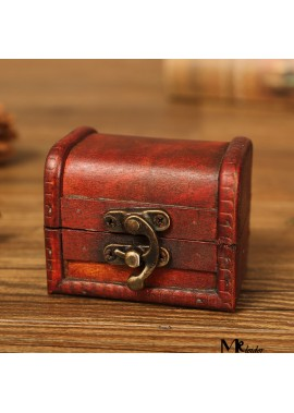 Wooden Vintage Box Jewelry Ring Box Length 8CM Width 6CM Height 6CM