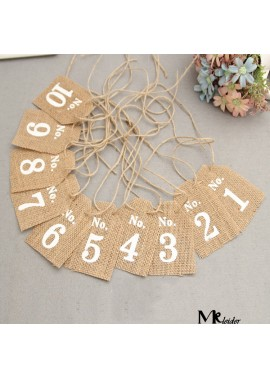 7*10CM Burlap shield digital hanging card 1-10 personalized custom seat card table card