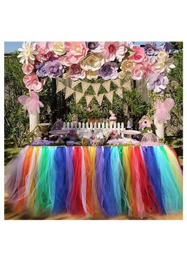 Multicolor Party Table Skirt Tables or Round Table Stretch Yarn Pleated Tutu Table Skirting for Party Baby Shower Wedding, Birthday
