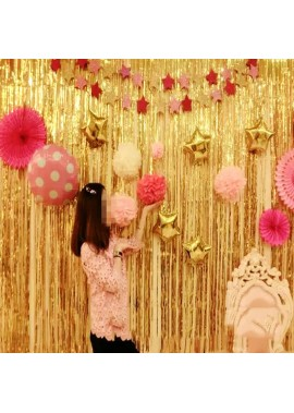 Gold Foil Curtains Are Arranged On The Background Wall One Meter High And One Meter Wide