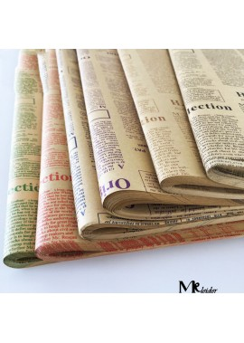 English Newspaper Bouquet Gift Wrapping Paper