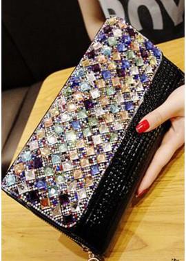 Weibliche One Shoulder Chain Farbe Diamond Handtaschen T901556094612