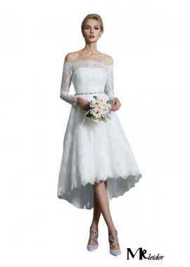 MKleider 2020 Long Sleeves Short Lace Wedding Dress T801524714740
