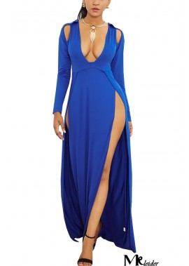 Long Sleeve Plunging Slit Cutout Sexy Plus Size Dress T901554281849