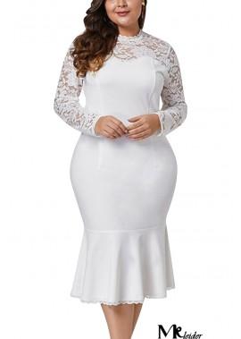 Lace Crochet Mock Neck Long Sleeve Sexy Plus Size Mermaid Dress T901554191027